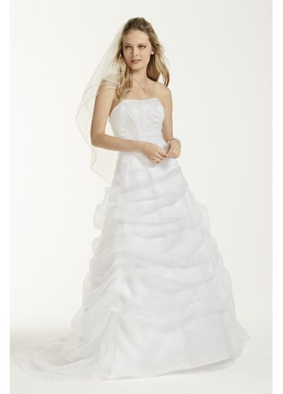 Organza and Lace Wedding Dress with Draped Skirt NTL9479