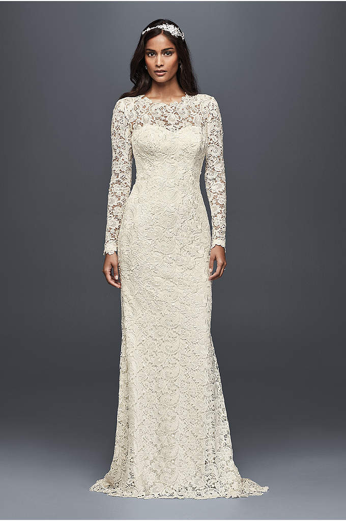 Long Sleeve Lace Sheath Wedding Dress - Completely timeless yet strikingly modern, this show stopping