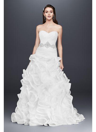 Ruffled skirt wedding dress with embellished waist david for Ruffled mermaid wedding dress