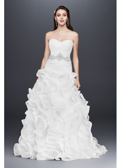 Ruffled Skirt Wedding Dress with Embellished Waist NTSWG492