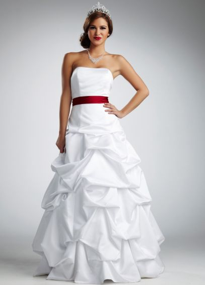 Strapless Satin Pick Up Ball Gown NTT9309