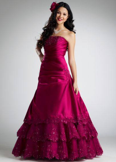 Satin A-line with Beaded Lace and Tiered Skirt NTT9466