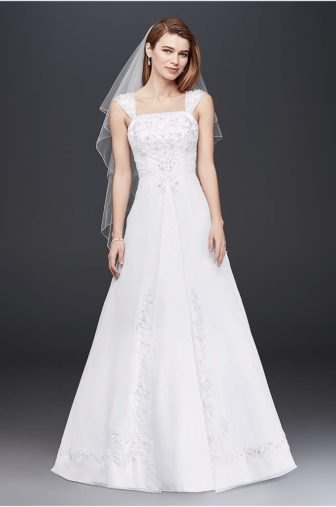 Split Front Wedding Dress with Cap Sleeves - Designed with elegance in mind, this satin A-line