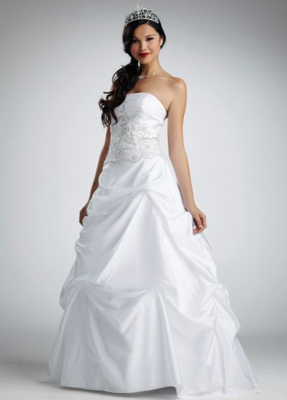 Satin and Taffeta Gown with Beaded Metallic Lace  NTV9202