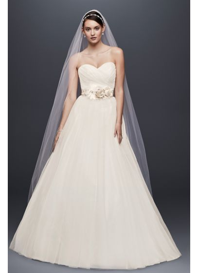 Tulle Wedding Dress With Sweetheart Neckline Ntwg3802 Long Ballgown Simple David S Bridal Collection