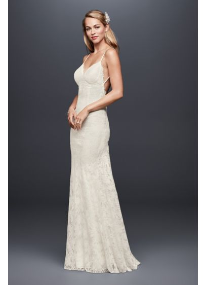 Soft lace sheath wedding dress with low back davids bridal long sheath beach wedding dress galina junglespirit Image collections