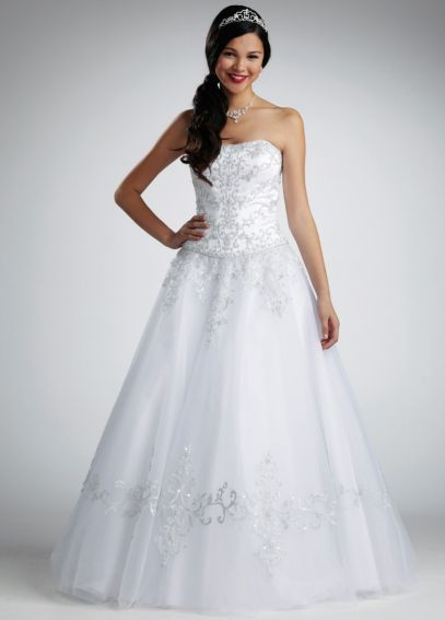 No Train Tulle Ball Gown with Satin Bodice NTWG9927