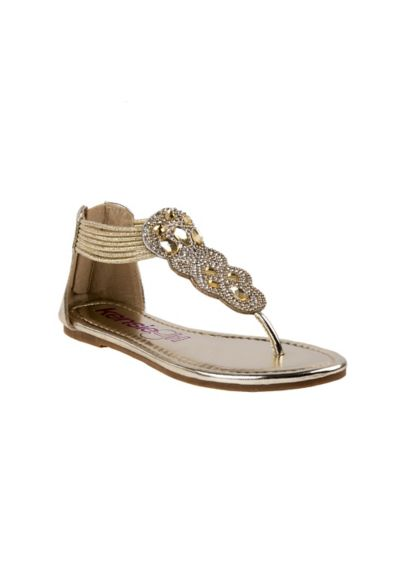 Yellow (Girls Metallic Sandals with Crystals)