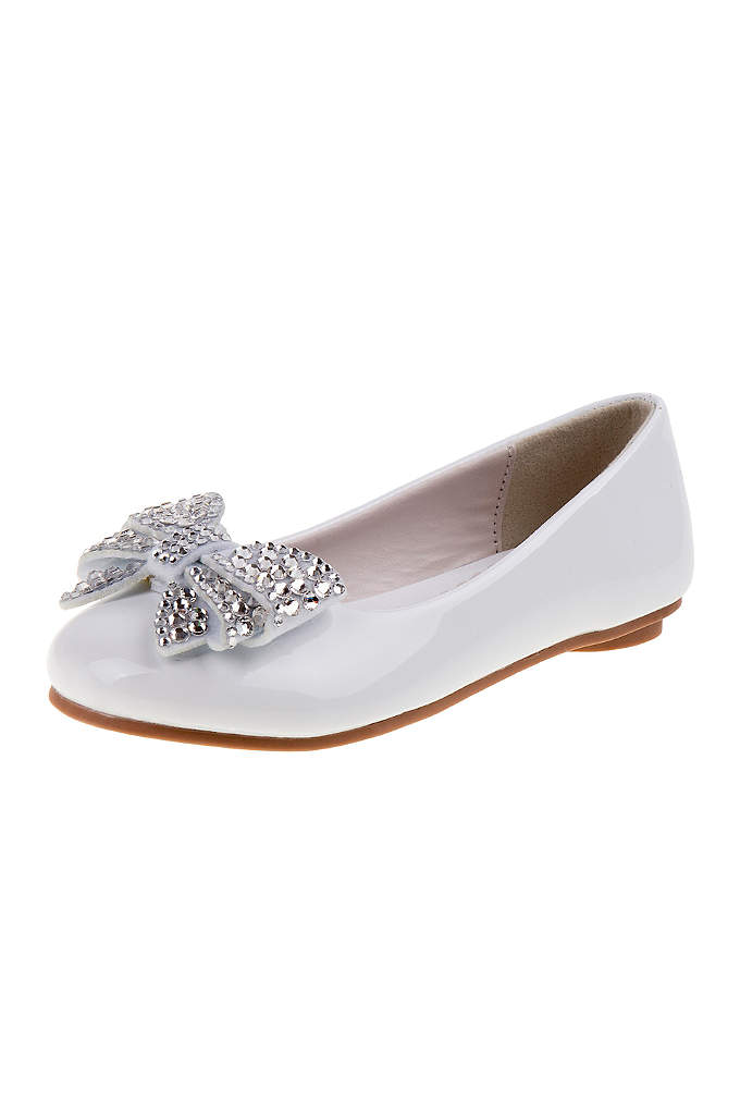 Girls Ballerina Flats with Rhinestone Bow - A rhinestone bow gives these cute ballerina flats