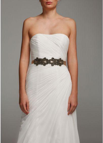 Bridal Satin Sash with Scroll Design - Wedding Accessories