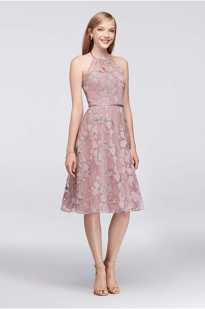 Embroidered Illusion Halter Bridesmaid Dress - A fun, party-ready bridesmaid dress with high-fashion detailing,