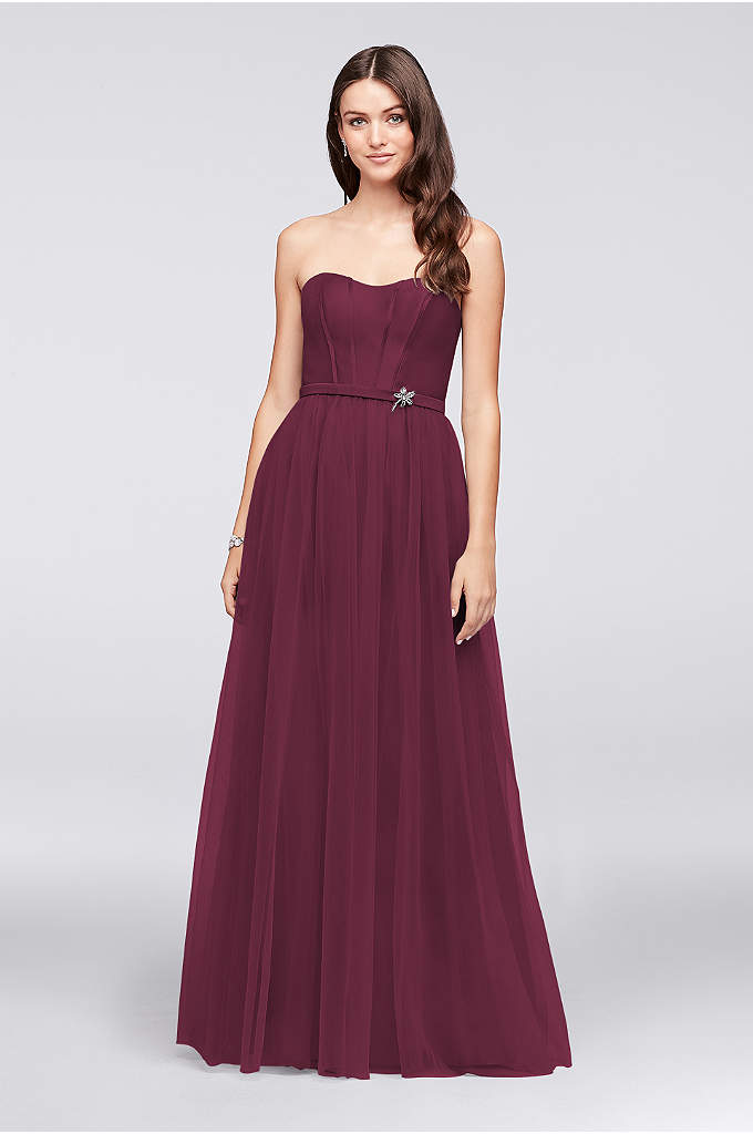 Mikado and Tulle Long Bridesmaid Dress - The seamed, corset-style strapless bodice and flowing tulle