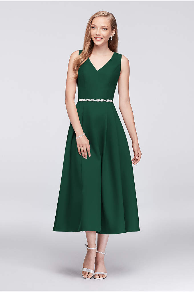 V-Neck Mikado Tea-Length Bridesmaid Dress - Drawing upon the high-fashion heritage and breathtaking details