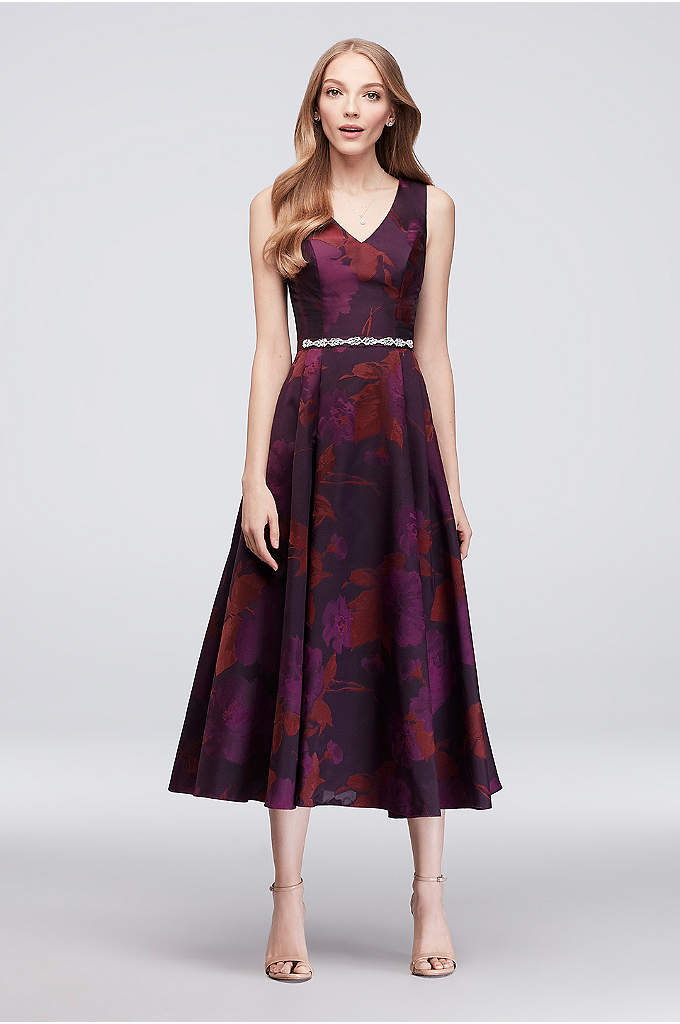 Jacquard V-Neck Tea-Length Bridesmaid Dress - Without a doubt, this jacquard tea-length bridesmaid dress