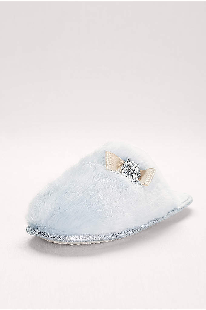 Embellished Faux-Fur Mule Slippers - These bridal slippers will keep your toes toasty