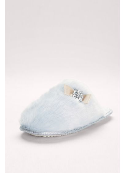 Pretty You London Blue (Embellished Faux-Fur Mule Slippers)