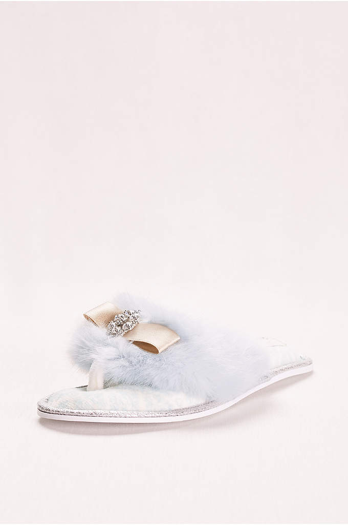 Faux Fur and Crystal Adorned Slipper - You'll look like the star of a classic