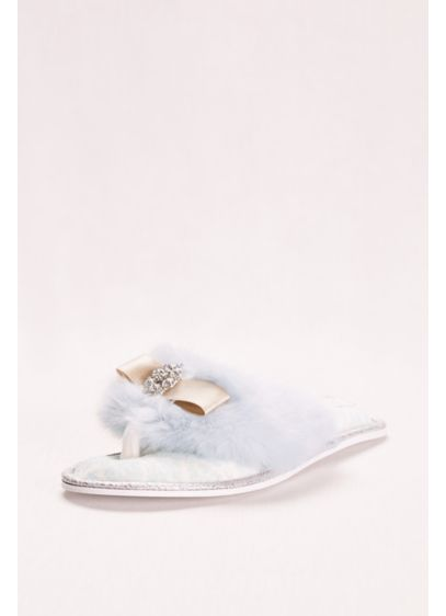 Pretty You London Blue (Faux Fur and Crystal Adorned Slipper)
