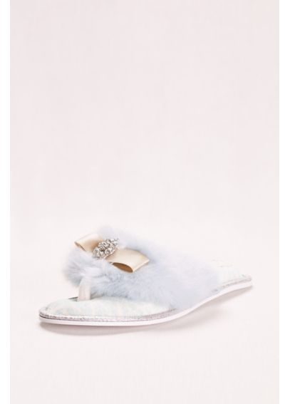 Faux Fur and Crystal Adorned Slipper OLIVIA