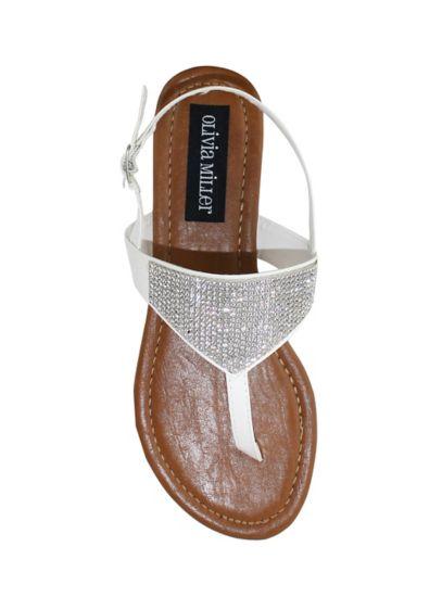 Olivia Miller White (Delicate Crystal Embellished Flat Sandal)