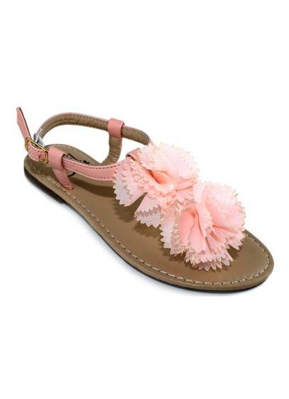 Olivia Miller Pink (Girls Chiffon Flower Flat Sandal)