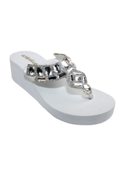 Jeweled Platform Flip-Flop OMM7592