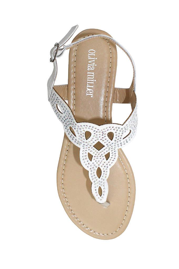 Crystal Embellished Knot Patterned Sandals - Lattice sandal with crystal embellishments. By Olivia Miller
