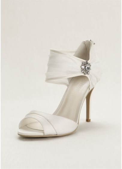 David's Bridal Ivory (Chiffon Ruched Sandal with Crystal Embellishment)