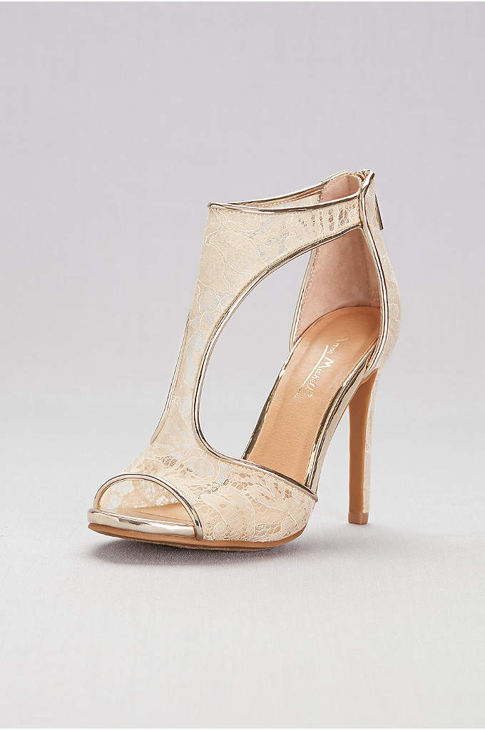 Sheer Lace Cutout Shooties with Metallic Trim - These sheer lace heels, trimmed in gold piping,
