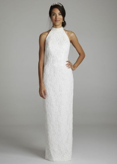 Halter Lace Wedding Dress With Sweep Train | Davidu0026#39;s Bridal