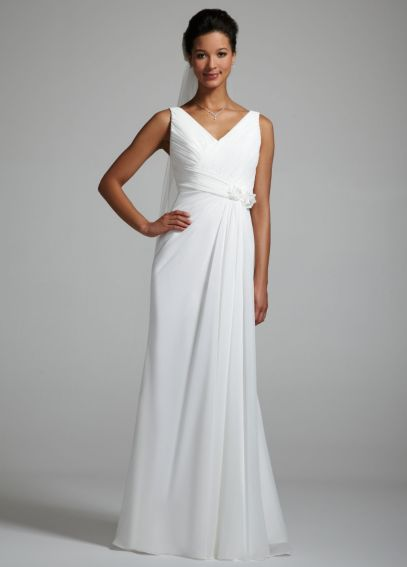 Chiffon Ruched Bodice Gown with Side Drape OP1008