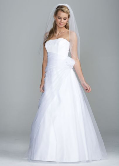 Long Organza Gown with Flower Detail at Waist OP1204
