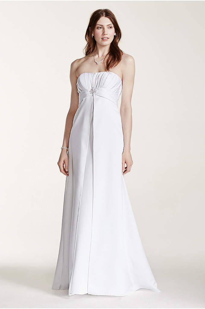 Strapless Satin Gown with Pleated Bodice - This stunning satin gown features a ruched empire