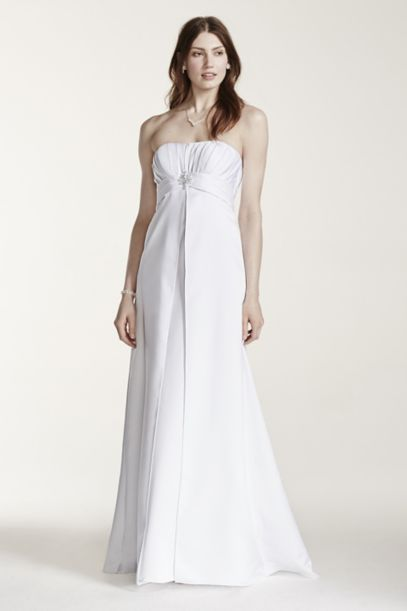 Strapless Satin Gown with Pleated Bodice | David's Bridal