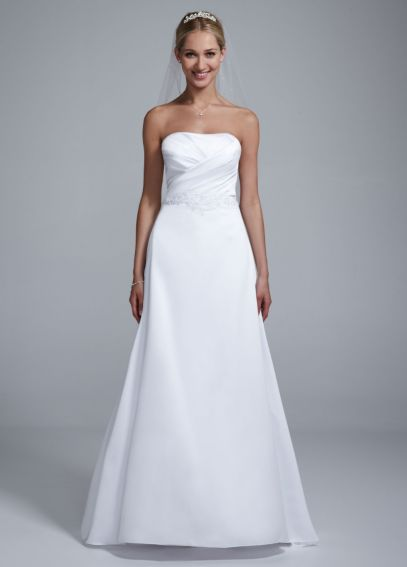 Strapless Satin Beaded Gown with Pleated Bodice OP1227