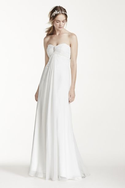 Strapless A-Line Wedding Dress with Ruching | David's Bridal
