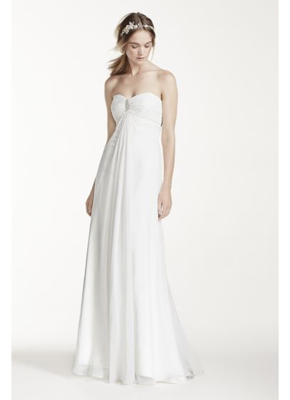 Strapless A-Line Wedding Dress with Ruching   David\'s Bridal