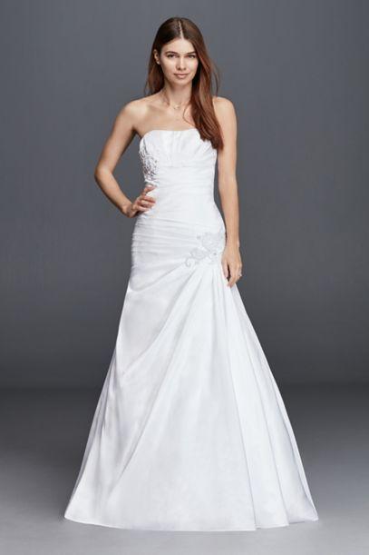 Plus Size Strapless Side Draped Wedding Dress Davids Bridal