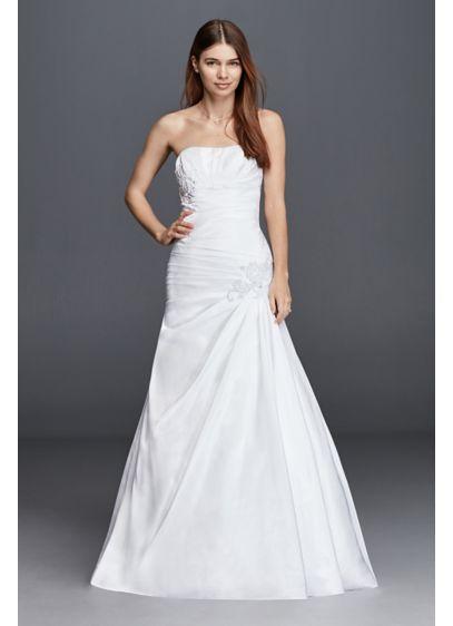 Plus size strapless side draped wedding dress david 39 s bridal for Side draped wedding dress