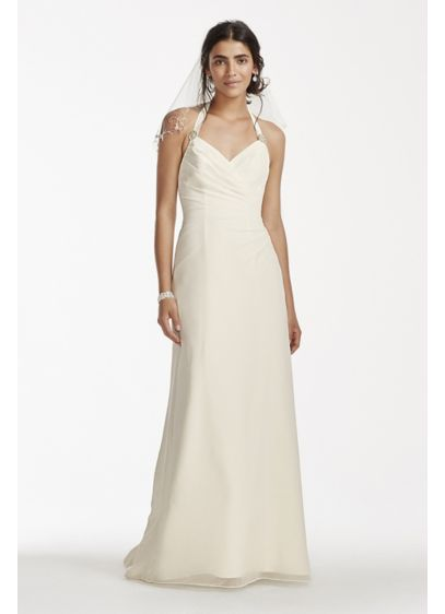 Chiffon halter sheath wedding dress davids bridal for Davids bridal beach wedding dresses