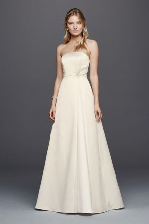 Beaded Satin Wedding Dress with Brooch | David\'s Bridal
