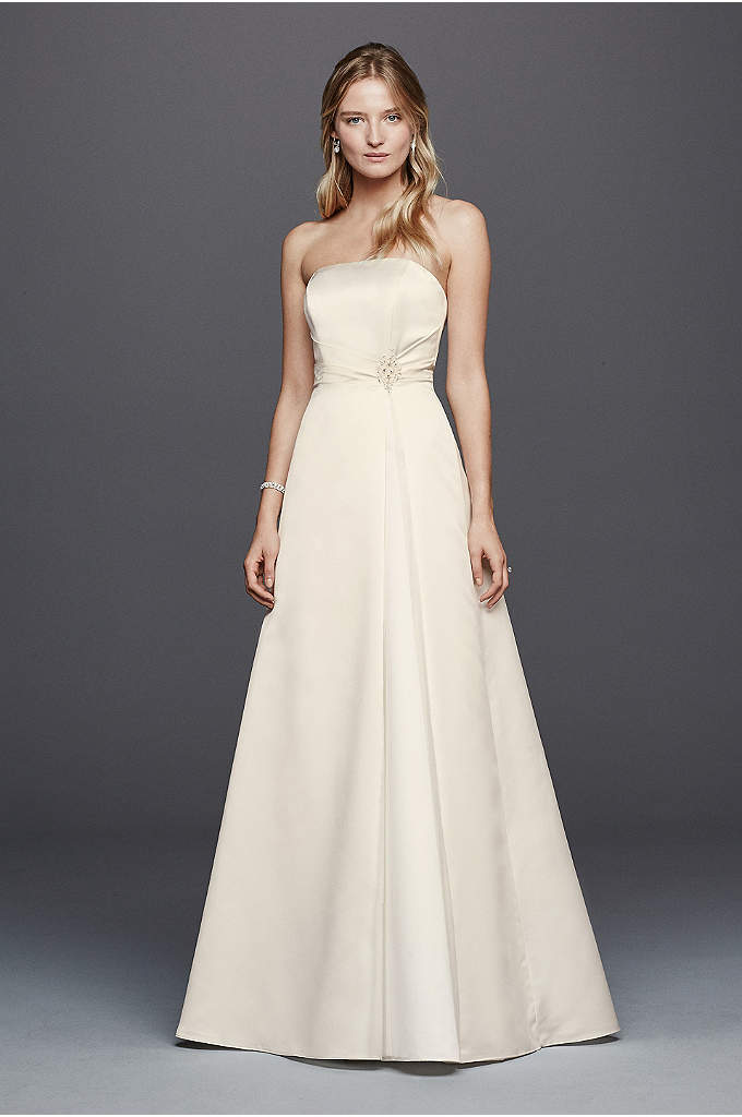 Beaded Satin Wedding Dress with Brooch
