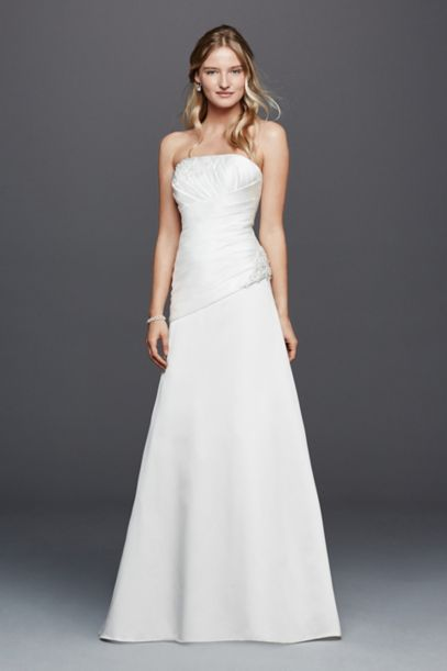 Strapless Ruched Wedding Dress with Lace Davids Bridal