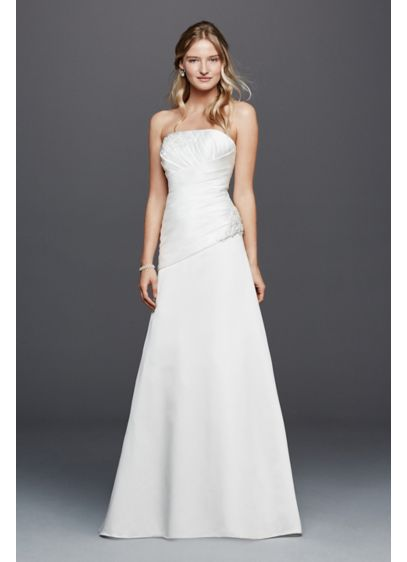 Strapless ruched wedding dress with lace david 39 s bridal for What is ruching on a wedding dress