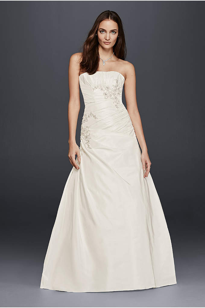 A-Line Wedding Dress with Ruching and Beading - Expertly crafted to make you feel every bit
