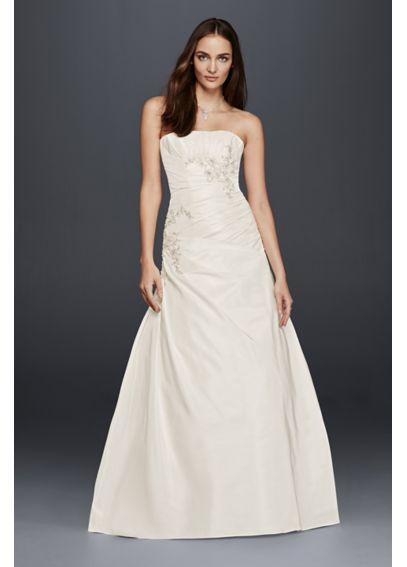 A line wedding dress with ruching and beading davids bridal for A line wedding dress with ruching