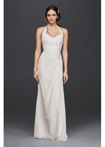 Halter Sheath Wedding Dress with Lace Appliques OP1270