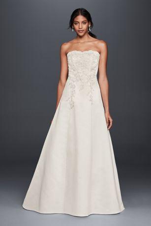 strapless a line lace wedding dress