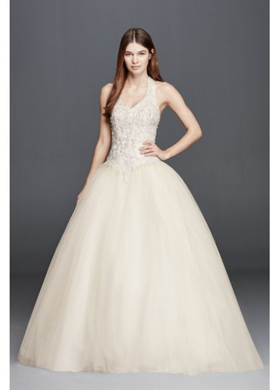 Embellished Halter Wedding Dress with Basque Waist OP1273