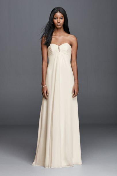 Strapless Chiffon Aline Wedding Dress with Brooch | David's Bridal